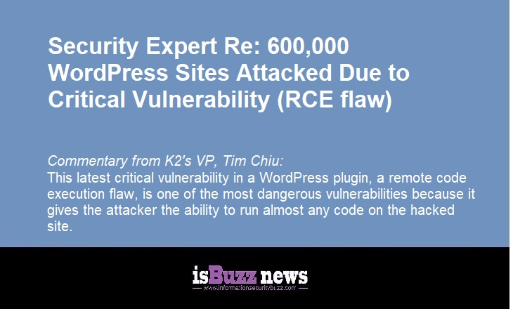 Security Expert Re: 600,000 WordPress Sites Attacked Due to Critical Vulnerability (RCE flaw)